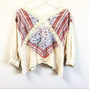 Free People Paisley Ruffle Pattered Top Red Blue